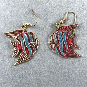 Vintage blue red stripe cloisonné fish earrings
